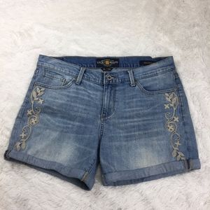 lucky brand the roll up embroidered denim shorts 8